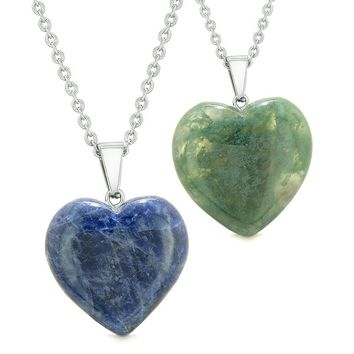 Amulets Lucky Puffy Hearts Love Couples or Best Friends Sodalite Green Moss Agate Pendant Necklaces