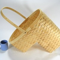 Woven Wicker Stair Step Basket w/Handle Large size