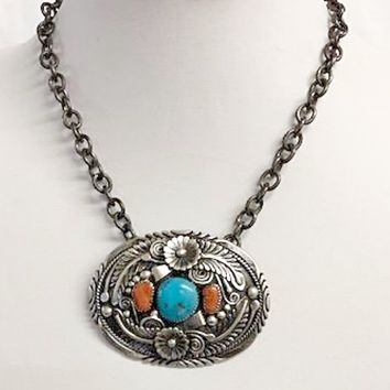 Vicki Orr Belt Buckle Choker w/ Kingman Turquoise and Coral
