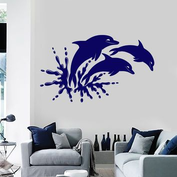 Vinyl Wall Decal Dolphins Marine Animals Ocean Bathroom Stickers Unique Gift (ig4065)