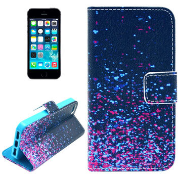 Starry Stars Pattern Leather Case with Card Slots & Holder for iPhone 5 & 5s & SE & SE