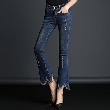 Plus Size jeans For Women 2017 Mid Waist Slim Flare Pants Ankle Length Bell Bottom Pants Tassels Ripped jeans Trousers Quality