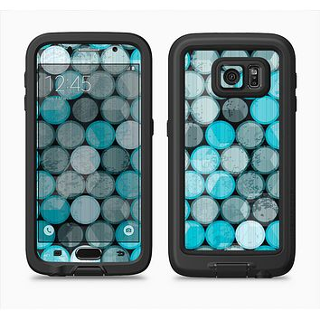 The Vintage Scratched Blue & Graytone Polka Full Body Samsung Galaxy S6 LifeProof Fre Case Skin Kit