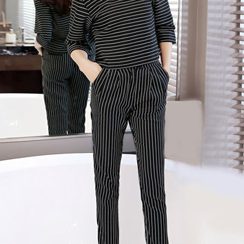 Pinstripe Neck 3/4 Sleeve Top and Pencil Pants Set