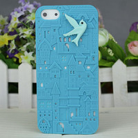 Blue European Style Building With Resin Bird Hard Cover for Apple iPhone5 Case, iPhone 5 Cover,iPhone 5 Case, iPhone 5g