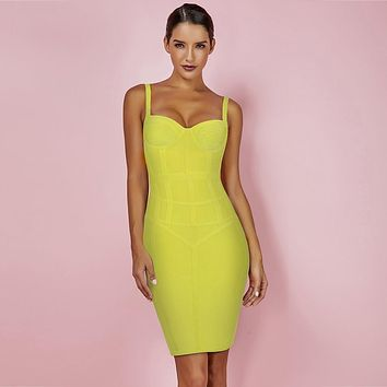 Yellow Strappy Mini Bandage Dress