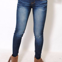 (alx) Super stretch skinny classic dark medium wash jeans