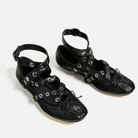 LEATHER BALLET FLATS WITH STRAPS AND STUDS