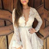 Sexy Gorgeous Deep V Neck Lace Cute Skater Dress