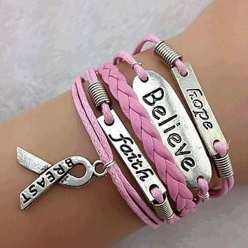 Women Fashion Multilayer Love Faith Believe and Breast Cancer Awareness Charm Bracelet