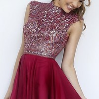 Short High Neck Open Back Dress by Sherri Hill
