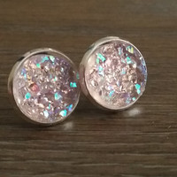 Druzy earrings-  Lightest pink drusy silver tone stud druzy earrings