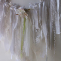 Rustic Woodland Fairy Garden Lace Garland. White Shabby Chic Boho Wedding Garland Photo Prop. Tattered laces, satin, organza, ribbons, Rose