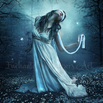 Anguish emotional artwork/blind folded woman/kneeling woman art/Dark fantasy forest artwork/fantasy decor/blue wall art/blue home decor