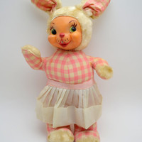 Darling Vintage Bunny Rabbit Stuffed Animal with Rubber Face, Pink Gingham, White Apron, circa 1950s
