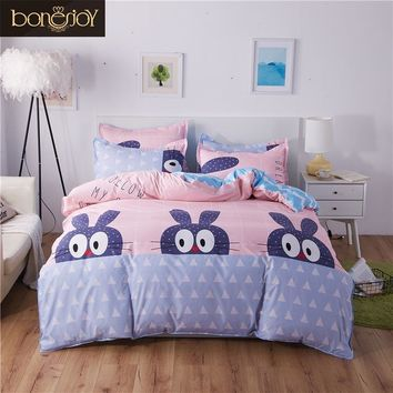 Bonenjoy Cartoon Style Pink Cute Rabbit Bedding Duvet Cover With Pillowcase Sheet Double Bed Cover For Girl Reactive Printed Bed