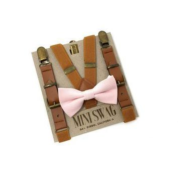 Blush Bow Tie & Camel Leather Suspenders Set
