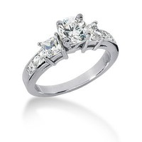 14K White Gold Round & Princess Cut Diamond Promise Engagement Ring (1.25ct.tw, HI Color, SI2 Clarity)