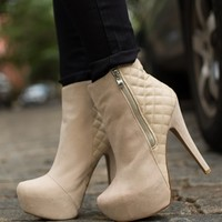 Quilted Craze Platform Stiletto Ankle Booties - Beige from Glam at Lucky 21 Lucky 21