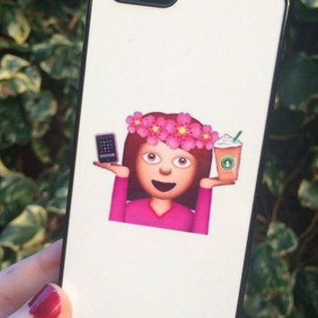 Iphone 6 Phone Case Emoji Icons Girl Print Hipster Phone Cover