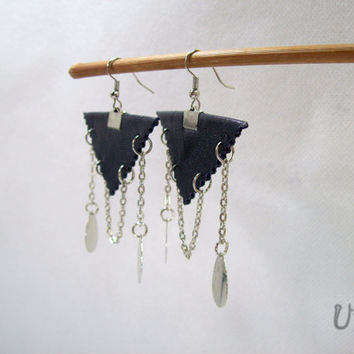 Dark Blue Leather earrings,Triangle earrings,Leather handmade jewelry
