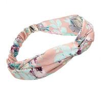 Floral Print Twisted Headband in Pink