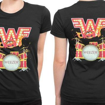 ESBH9S Weezer Muppets Drummer 2 Sided Womens T Shirt