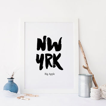 NEW YORK CITY,Big Apple,City Name,Manhattan,Typography Art Print,Quote Wall Art,Modern Digital Print,Black And White,Inspirational Art