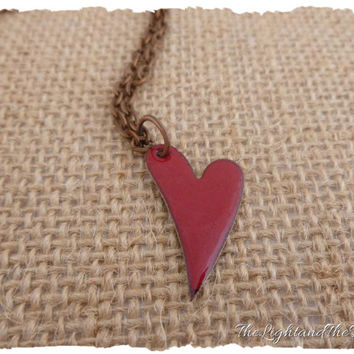 Victorian Red Heart Necklace - Handmade - Torch Enameled Copper - Glass - Metal - Jewelry - Gift for her - Heart - Love - Gift idea