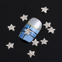 Leegoal Special Silver Star 10 pieces Silver 3D Alloy Nail Art Slices Glitters DIY Decorations