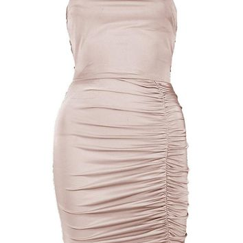 Jas Slinky Ruched Strappy Back Bodycon Dress   Boohoo