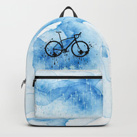 watercolor bicycle Backpack by cindys