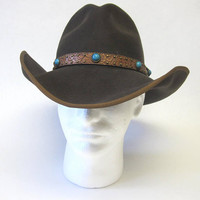 Scala Brown Cowboy Hat Tooled Leather Band
