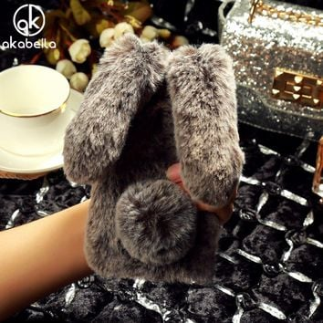 AKABEILA Fluffy Rabbit Fur Silicon Phone Cases For iPhone 8 iPhone8 Cover Bling Diamond Shell Fundas Housing