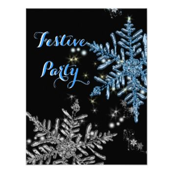 Christmas Themed Sparkly Snowflakes Festive Party Invitation
