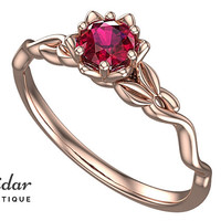 Flower Engagement Ring,Unique Engagement Ring,Gemstone Engagement Ring,Leaves,Lotus,Ruby,Solitaire Engagement Ring,floral,swirl,Rose gold