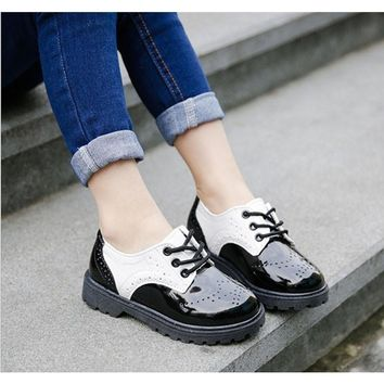 2017 New Classic Children PU Shoes Boys Girls High Quality Fashion Shoes 2 Color for Children 1-12Y