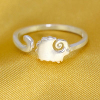 Cute small sheep 925 sterling silver opening ring, a perfect gift