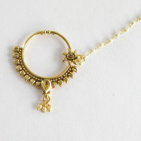 Gold Antique Non Pierced Ear Nose Ring Nath