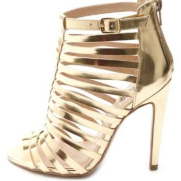 Caged Metallic Single Sole Heels by Charlotte Russe - Gold