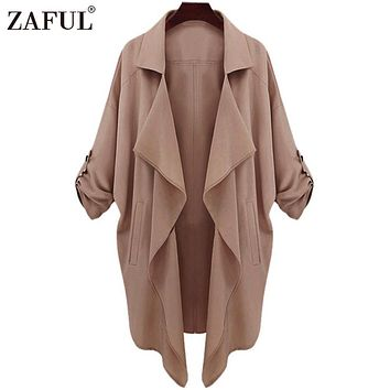 ZAFUL 2017 New Spring Women Trench Female Coat fashion Long Sleeve Open Stitch Outerwear Coats Asymmetric Overcoat for Womens