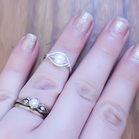 Pearl Midi Ring, Silver Midi Ring, Midi Ring, Midi Rings, Knuckle Ring, Wire wrapped Ring, Boho Ring, Modern Jewelry