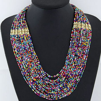 Attractive Candy Color Beads Embellished Multi-Layered Necklace