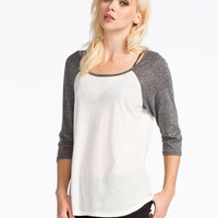 Full Tilt Solid Womens Baseball Tee White/Grey  In Sizes