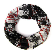 Cute Winter Cowl Scarf Soft Cozy Snowflake Eternity Scarf Black Grey Red Tube Scarf Warm Fun Winter Womens Teen Fashion Scarf Just Enough