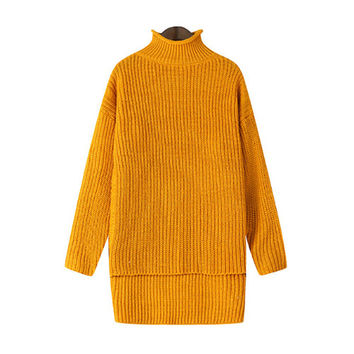 Yellow Stand Collar Knitted Sweater