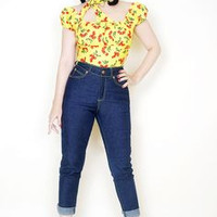 Ruby Pearl Top in Yellow Cherry Print (XS & SMALL Last 3)