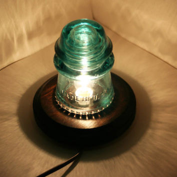 Aqua Hemingray 16 Insulator Night Light ~ Upcycle Desk Lamp ~ Round Drip Points