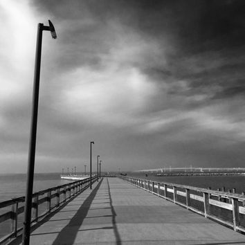Dock of the Bay -Chesapeake Bay, Maryland -Black and White Photograph in Nautical Tones