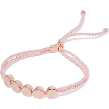 Monica Vinader - Linear Bead rose gold vermeil and woven bracelet